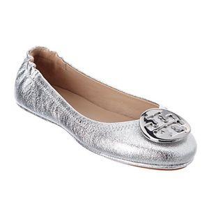 Tory Burch Minnie Travel Ballet Flat Silver